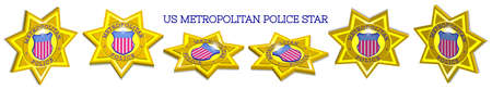 3D set of gold stars of the US Metropolitan Police. Star-striped figured shield. Bright radiant highlights and shadows.