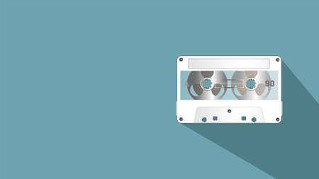 Sample poster or banner. Vintage white gadget. Magnetic tape cassette. EPS10 向量圖像