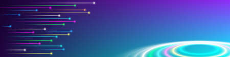 Fantastic abstract banner. Many flying glowing multicolor stylistic meteors. Bright turbid circles. Clipping mask. ERS10