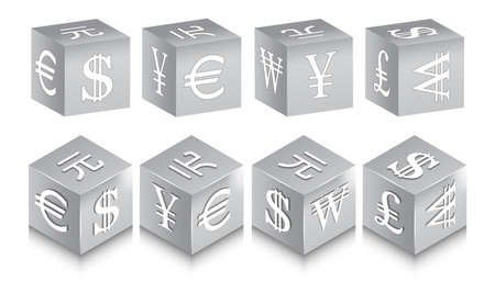 3D set of metal cubes with world currencies signs. US Dollar, Chinese Yuan, Korean Wons, Japanese Yen, Euro and British Pound. Shadows and white highlights. 矢量图像