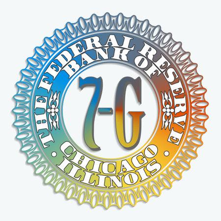 Monetary seal on banknotes of bank of Chicago Illinois USA 7G. Color gradient and shadow Vektoros illusztráció