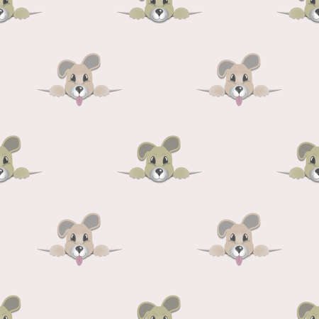 Seamless pattern. Cute looking head of an eared puppy with paws. Symmetrical and staggered
