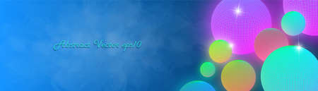 Bright rectangular abstract banner. Different colored glowing spheres with radiant highlights on turbid wavy smoky background