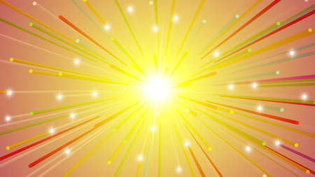 Abstract bright flash. Colored radiant background. Yellow radiant burst