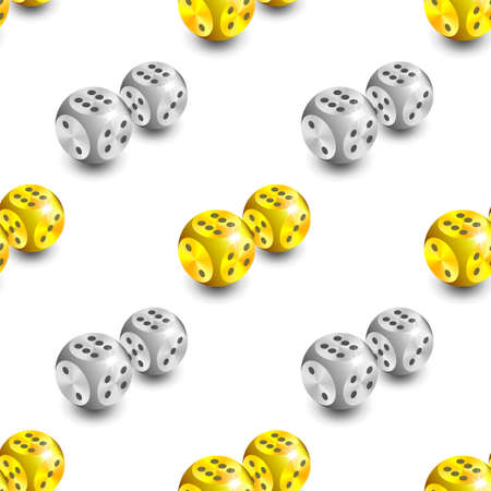 Seamless pattern. 3d happy gold and platinum spherical dice staggered symmetrically with shadows on white background
