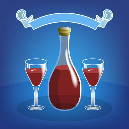Volumetric bottle with red wine and two glasses. Glare, shadows and ribbon on a blue background