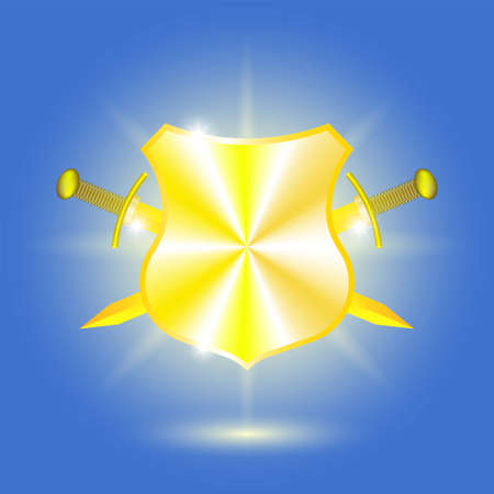Blue poster. Golden shield and crossed swords with bright highlights and rays