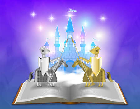 Fairy fantasy poster. Cartoon knights and a blue castle in the clouds. 3D open book on a foggy glowing background