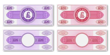 A set of fictional paper money of England. Obverse and reverse of 20 and 50 pounds banknotes or certificates