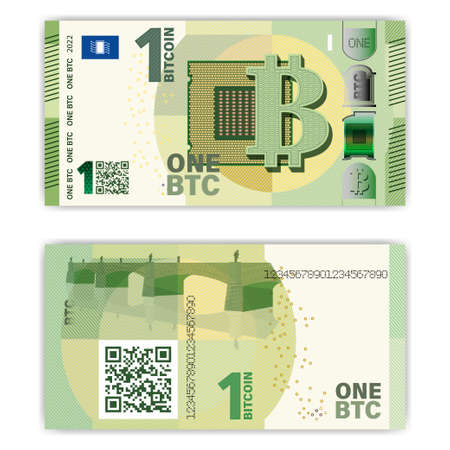 Obverse and reverse of paper money in the style of the European Union euro. One bitcoin is encoded in the QR-code. Computer processor and bridge