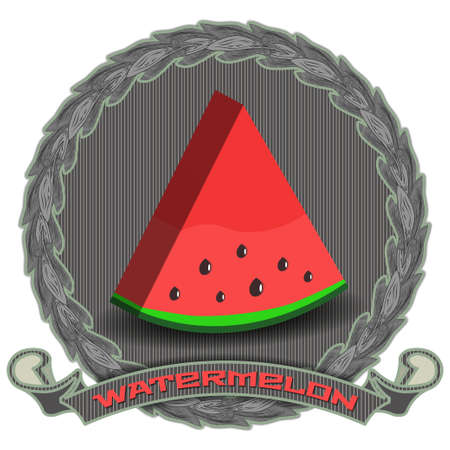 3D piece of cartoon red watermelon on the background of a dark circle with leaves, a ribbon with an inscription and shadows Vecteurs