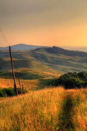 hdr image of romanian hills at sunset
