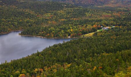 aerial view of lake and a huge forest with small house Stock Photo