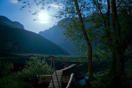 moonlight bridge Stock Photo