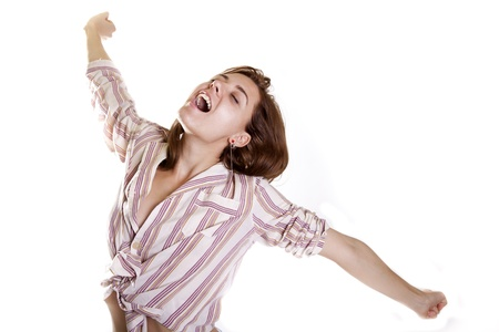 yooung atractive woman yawning in pijamas in the morning with happy face