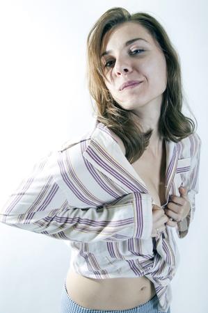 sexy girls showing skin in pijamas in the morning smiling Stock Photo - 15784565