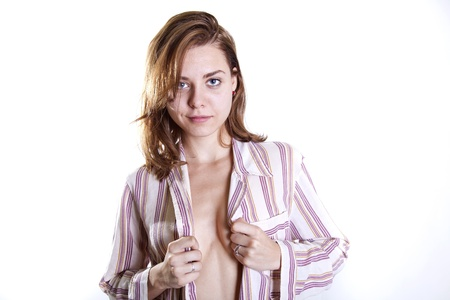young attractive woman in pijamas with no bra