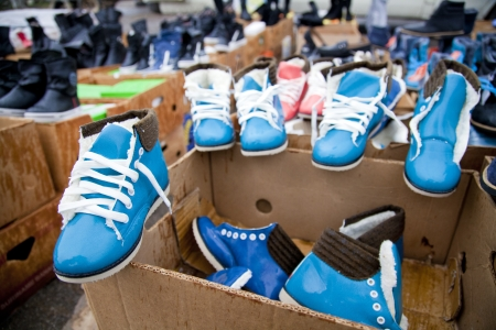 shoes in boxes outside with no logo Stock Photo - 16042949