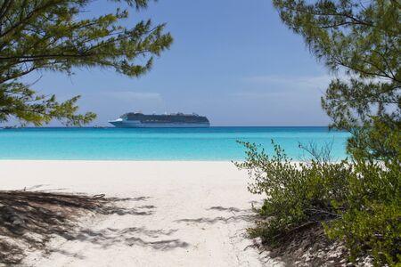 cruise ship anchored near a white sand beach on blue water photo