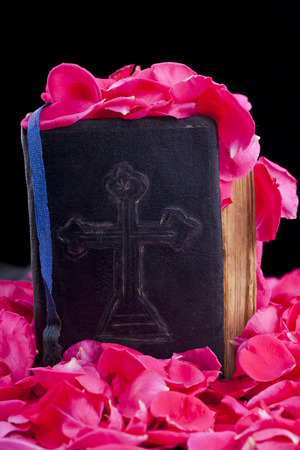 old vintage bible on a bed of rose petals isolated on black background Stock Photo