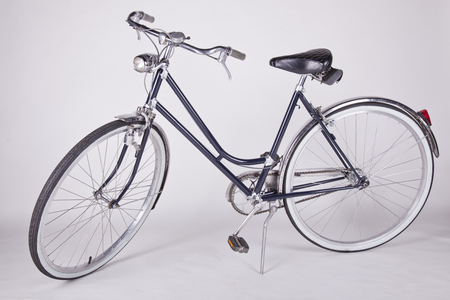 vintage old reconditioned bicycle isolated on white