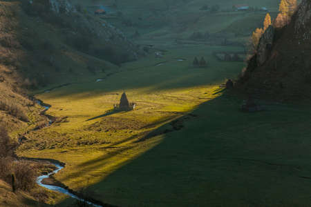 hey stacks at sunrise in beautifull valley in romania