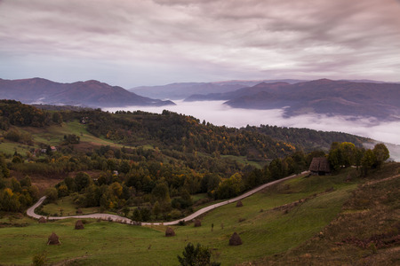 cloudy landscape in romanian mountain in autumn