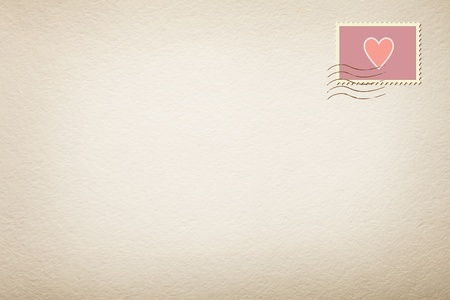 heart stamp in a letter white background
