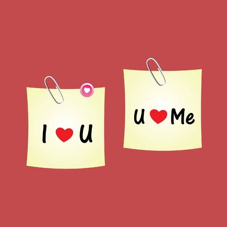 i pad: paperclip of love on red background