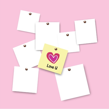buy it: Post it of love  on pink background