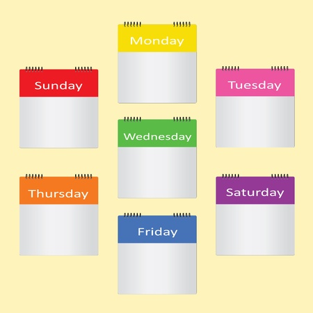 blank 7 color 7 day for add your own note Vector