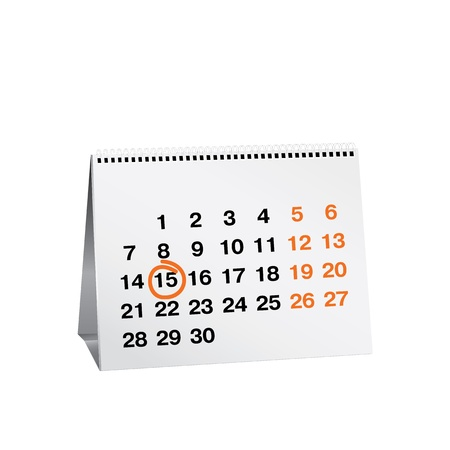 Calendar with April 15th circled in red Vector