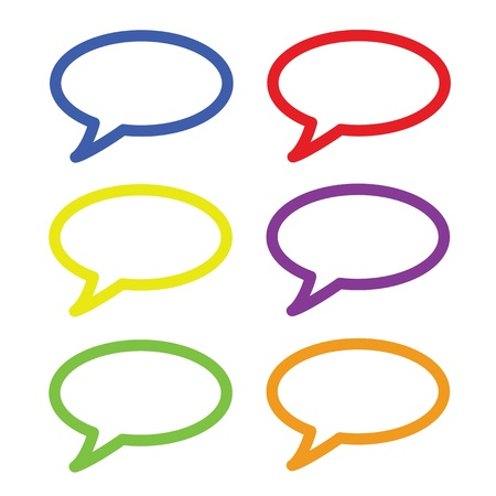 Speech bubbles, six colors for each item  Vector