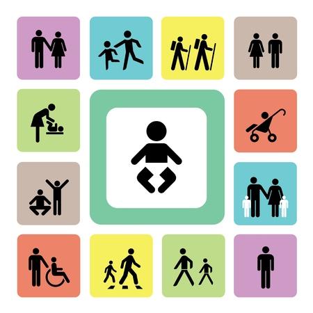 Family icon on isolated white background Illustration