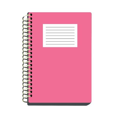 cuaderno espiral: Cuaderno espiral rosado aislado en fondo blanco con trazado de recorte