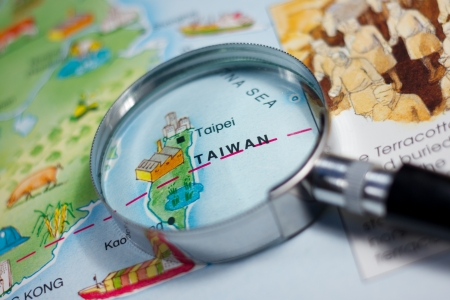 Close up of Taiwan on map Stock Photo