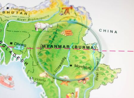 Myanmar or Burma Country Map Stock Photo