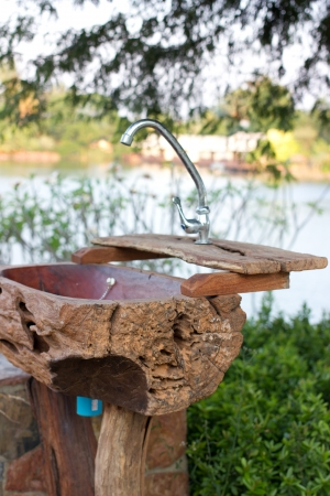 Hand washing basin in the garden photo