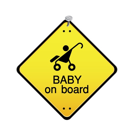 drive nail: Baby on board sign Illustration