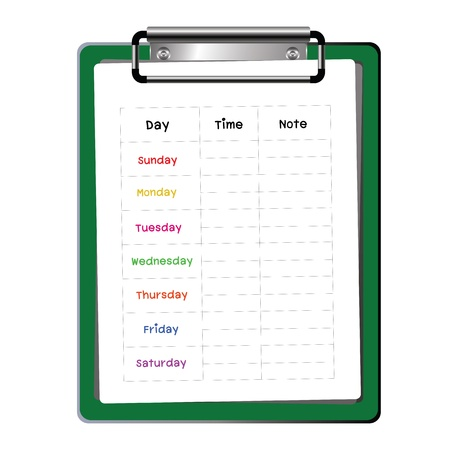 weekly: green clipboard  weekly planner on white background