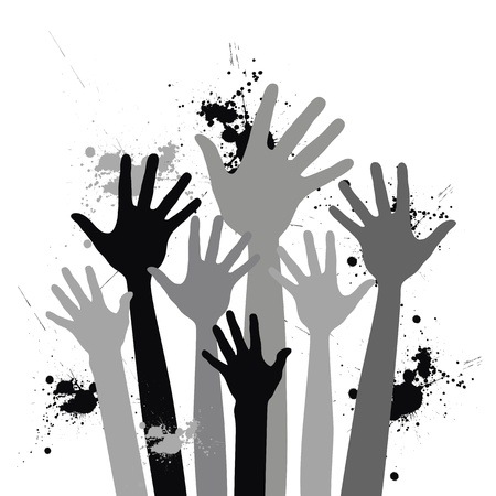 balck and white hands up Vector