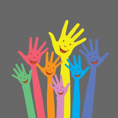 warm colorful up hands for use Vector