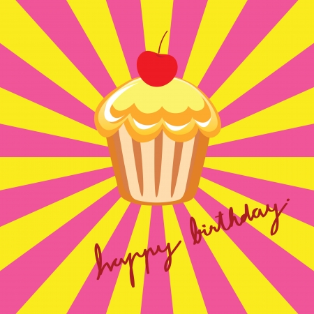 festive occasions: cup cake on Happy Birthday background
