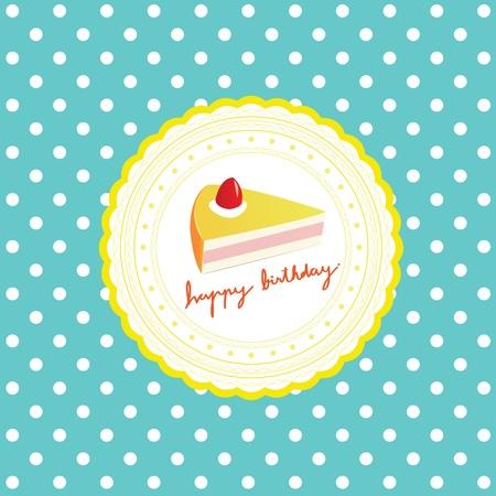 cake on Happy Birthday card Vector