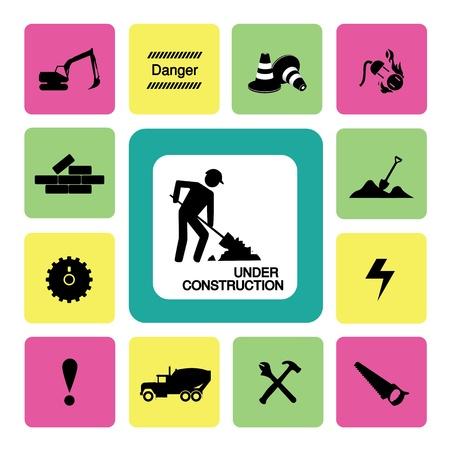 Thirteen icons set for construction Çizim