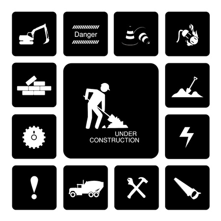 Thirteen icons set for construction Illustration