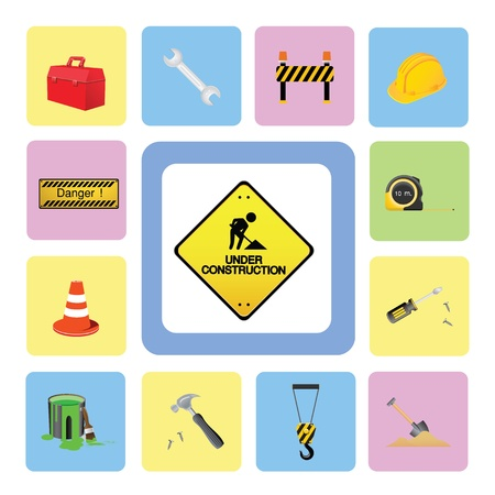 construction icons set for use