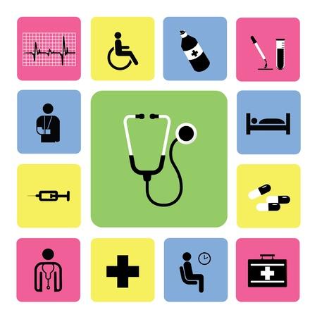 doctors and patient: hospital de iconos conjunto de ilustraci�n