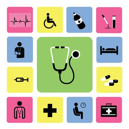 doctor with pills: icons hospital set from Illustration