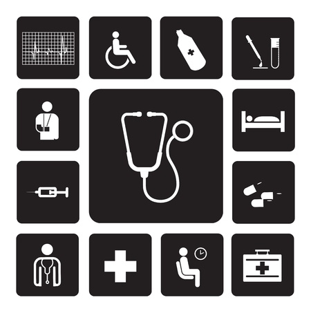 pierna rota: hospital de iconos conjunto de ilustración